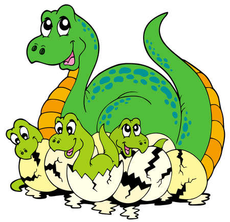 dragon cartoon: Dinosaur mom with cute babies  Illustration