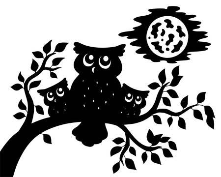 monochroom: Silhouet van drie uilen op tak  Stock Illustratie