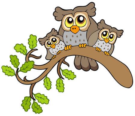 Tres búhos cute en rama