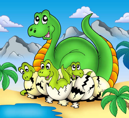 Dinosaur mom with little babies - color illustration. illustration