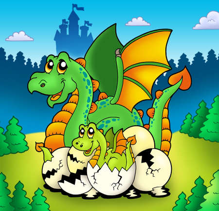 Dragon mom with baby in forest - color illustration. illustration