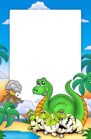 dinosaur egg: Frame with little dinosaurs - color illustration.