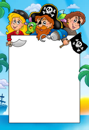 Frame with three cartoon pirates - color illustration. illustration