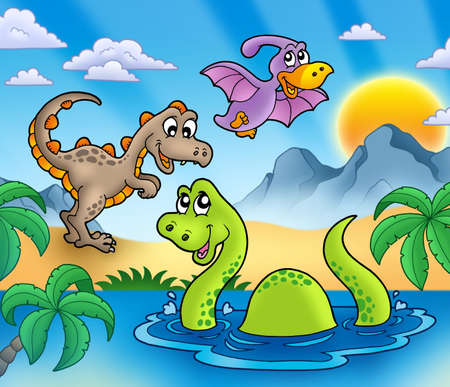 dragon fly: Landscape with dinosaurs 1 - color illustration. Stock Photo