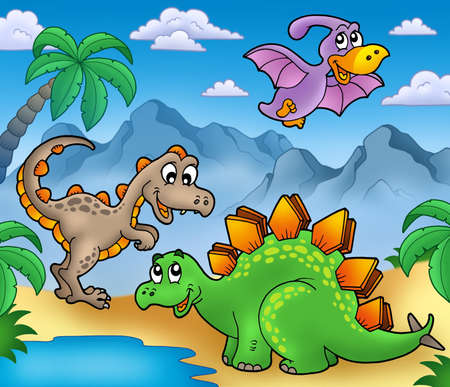 dinosaur cartoon: Paisaje con dinosaurios 2 - ilustraci�n de color.