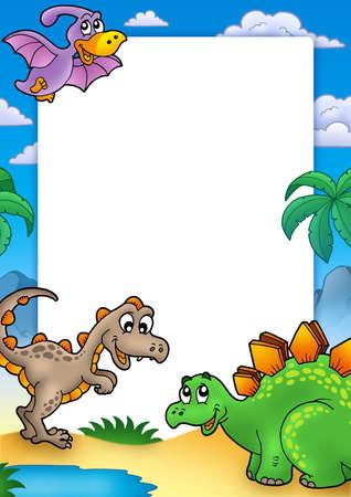 tiranosaurio rex: Marco prehist�rico con dinosaurios - ilustraci�n de color.