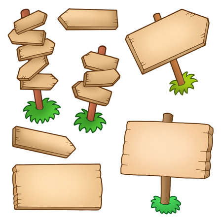 arrow wood: Colecci�n de varios paneles de madera - ilustraci�n de color.