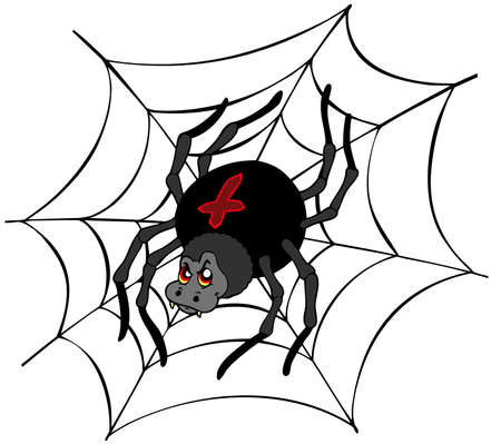 Big cartoon spider - vector illustration. Vector