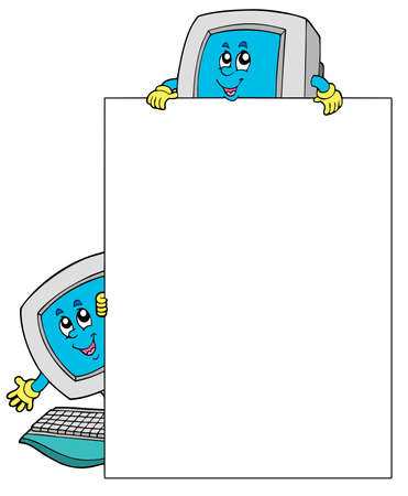 looking at computer screen: Blank frame with two computers - vector illustration. Illustration