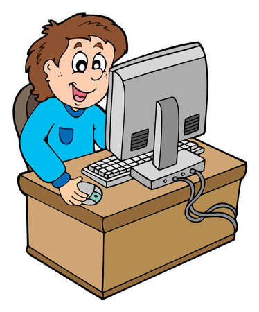 computer learning: Cartoon boy working with computer - vector illustration. Illustration