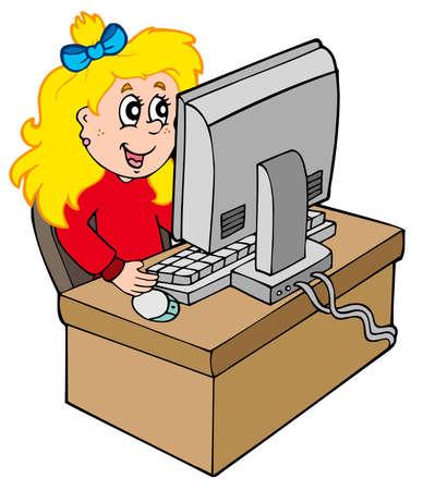 computadora caricatura: Chica de dibujos animados, trabajando con el equipo: ilustraci�n vectorial.