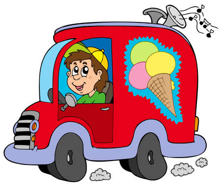 vendors: Cartoon ice cream man in car - vector illustration.