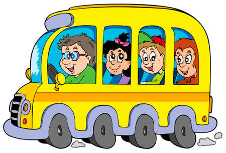 Cartoon school bus with kids - vector illustration. Vector