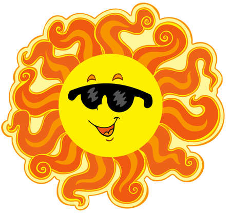 sun protection: Curly cartoon Sun - vector illustration.