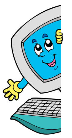 computer vector: Lurking cartoon computer - vector illustration.