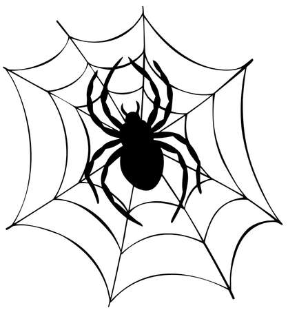 Silhouette of spider in web - vector illustration.