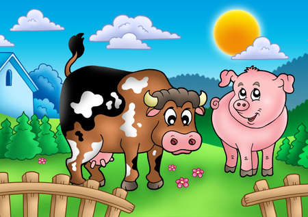 farmyard: Cartoon cow and pig behind fence - color illustration. Stock Photo