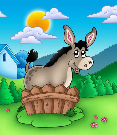 farmstead: Cute donkey behind fence - color illustration.
