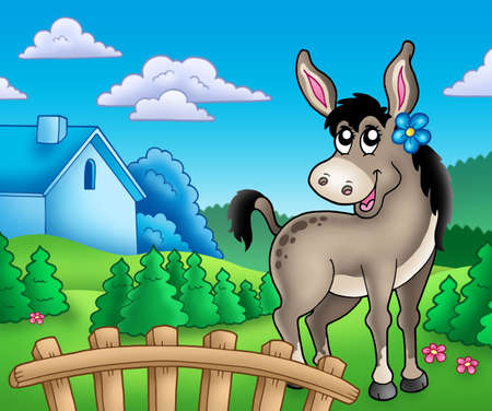 homestead: Donkey with flower behind fence - color illustration.