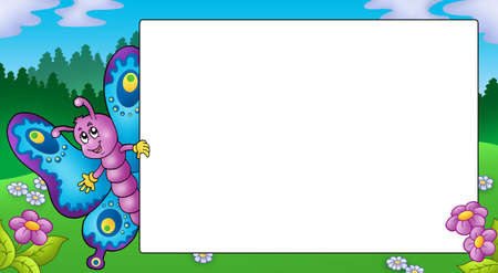 cartoon frame: Frame with cute lurking butterfly - color illustration.