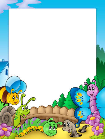 caterpillar worm: Frame with various garden animals - color illustration.