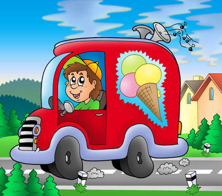 Ice cream man driving red car - color illustration. illustration