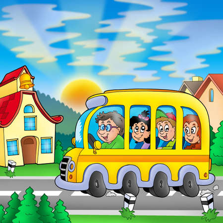 yellow schoolbus: School bus on road - color illustration. Stock Photo