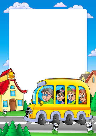 yellow schoolbus: School frame with bus and kids - color illustration.