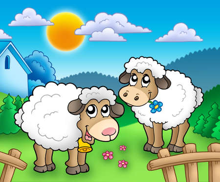 Two cute sheep behind fence - color illustration. Stock Illustration - 7254726