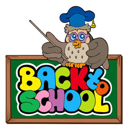 Back to school sign with owl lector  Vector