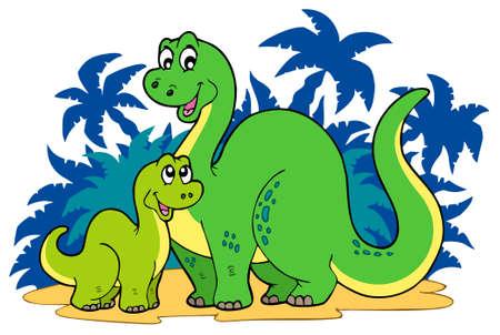 Familia de dinosaurios de dibujos animados  Foto de archivo - 7469521