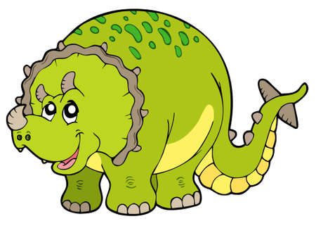 prehistoric: Cartoon triceratops on white background - vector illustration. Illustration