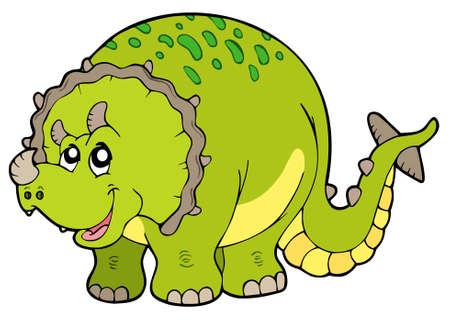 dinosaurio caricatura: Triceratops de dibujos animados sobre fondo blanco - ilustraci�n vectorial.