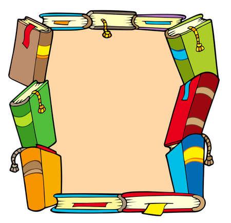 copertina libro antico: Telaio da vari libri - illustrazione vettoriale.  Vettoriali
