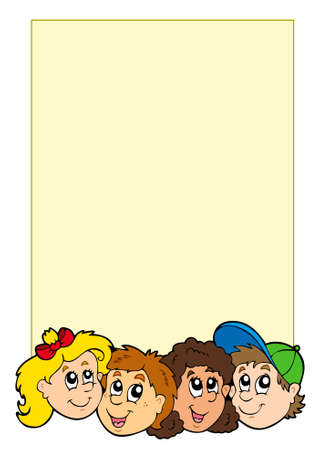 Frame with various kids faces - vector illustration. Vector