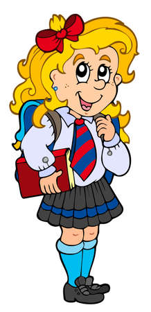 student with books: Girl in school uniform
