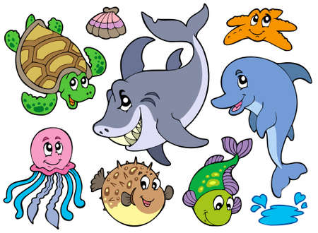 Happy sea animals collection Stock Vector - 7469533