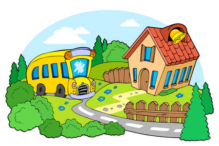 cartoon trees: Landscape with school