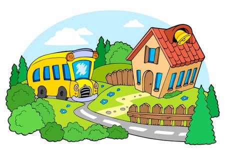 arboles de caricatura: Paisaje con la escuela