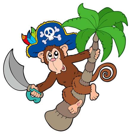 mono caricatura: Mono de pirata con �rbol de Palma  Vectores