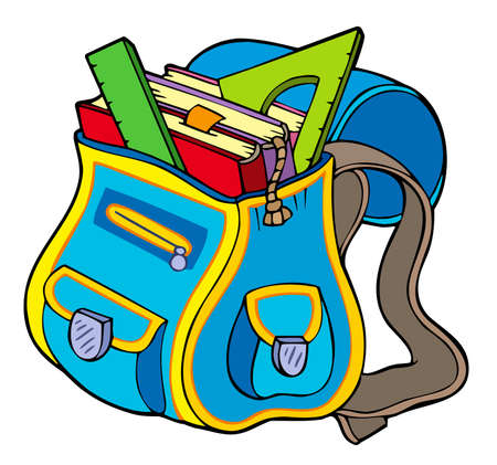 rulers: School bag with books