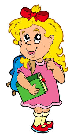 school bags: School girl with green book  Illustration