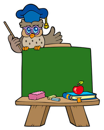 School chalkboard with owl teacher Stock Vector - 7469498