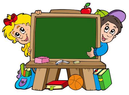 pupils: School chalkboard with two kids