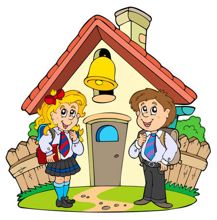 educative: Small school with kids in uniforms  Illustration