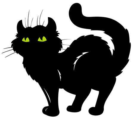 furry tail: Standing cat silhouette  Illustration