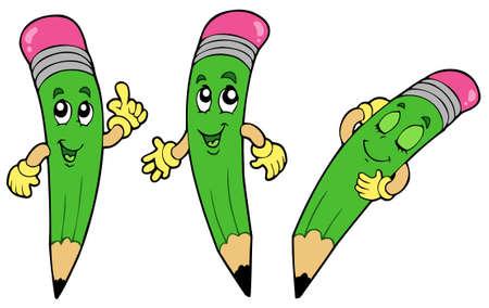 three objects: Various cartoon pencils