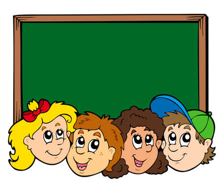 Various kids faces with blackboard  Illustration