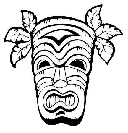 hawaiian culture: Wooden Hawaiian mask   Illustration