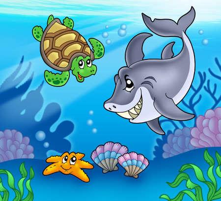 tortuga de caricatura: Los animales bajo el agua de la historieta, ilustraci�n de color.  Foto de archivo